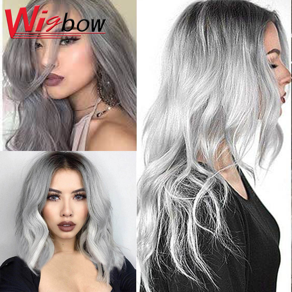 Perucas de cabelo humano cinzentas da onda natural do cabelo humano do cinza da peruca 4*4 do cabelo do fechamento do laço perucas de cabelo humano para as mulheres brasileiras