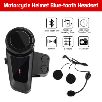 MAXTO M2 Waterproof 6 Riders Talking Motorcycle 1KM Helmet Bluetooth Interphone Headset Radio(Connect with any brand headset)