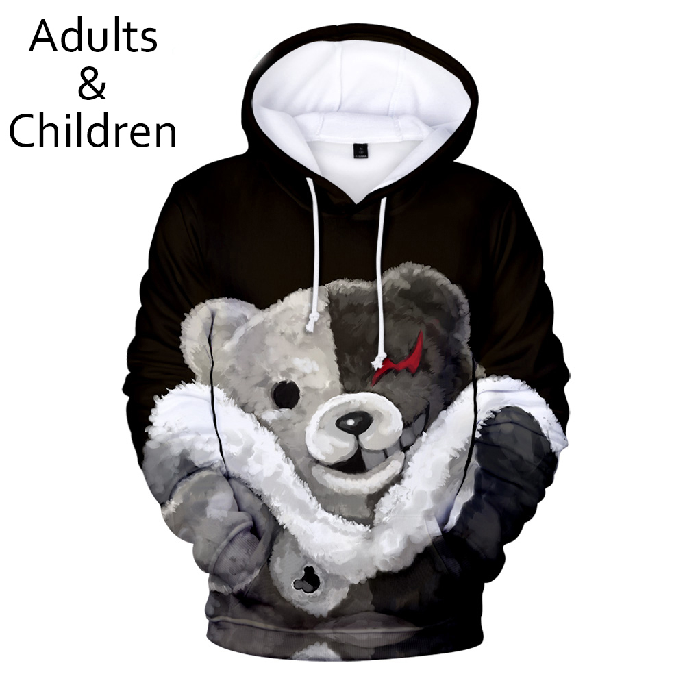 Cute Monokuma 3D Hoodies Men Women Sweatshirts Fashion Kids Hooded Hot Autumn 3D Print Anime Monokuma Boys Girls Hoodie Pullover