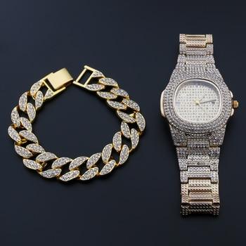 Orologio al Quarzo + Bracciale Hip Hop in Acciaio Inossidabile 1
