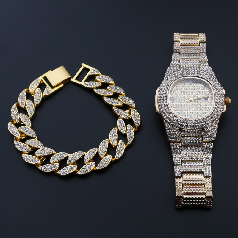 Hip Hop Luxury Iced Out Watches+Bracelet Date Quartz Wrist Watches With Micropave CZ Stainless Steel Women Watch Jewelry