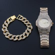 Hip Hop Luxury Iced Out Watches+Bracelet Date Quartz Wrist Watches