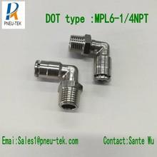 Точка типа PL06MM-1/4,90 градусов поворотный мужской локоть, Brasspush в фитингах, одно касание в фитингах