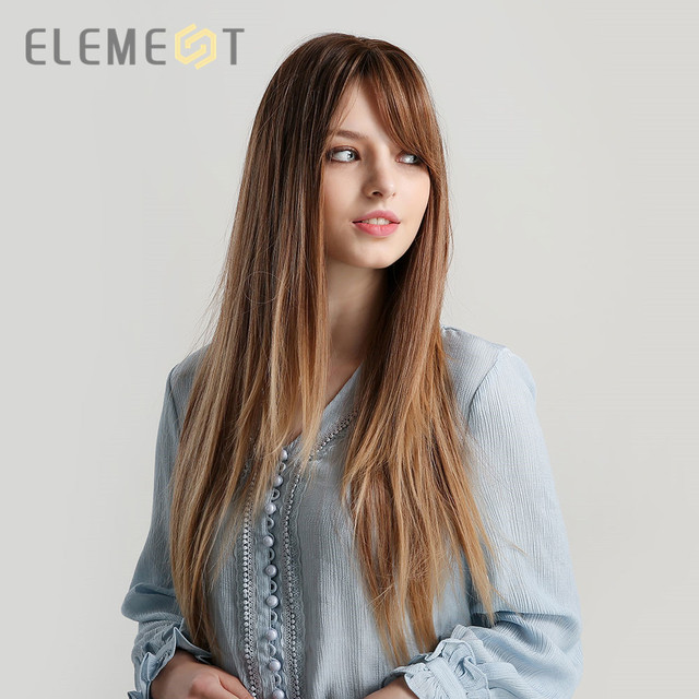 Element Synthetic Long Straight Hair Light Brown Mix Blonde Golden Wigs with Side Bangs for White/Black Women