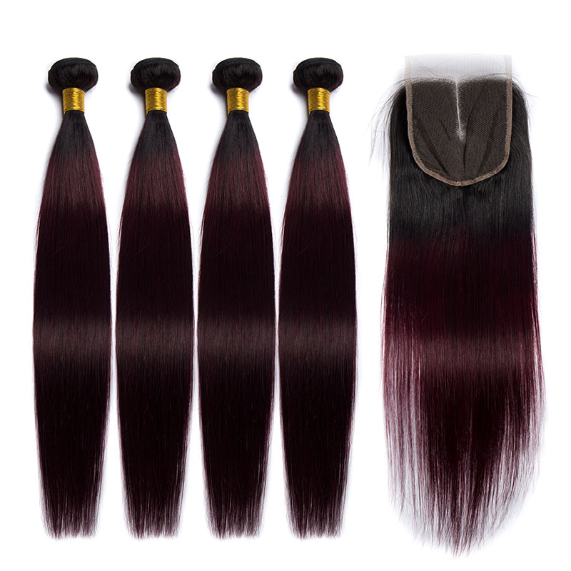ALIBELE 1B 99j Red Blonde Brazilian Straight Hair Bundles With Closure Ombre Remy Human Brazilian Hair Weave Bundle With Closure