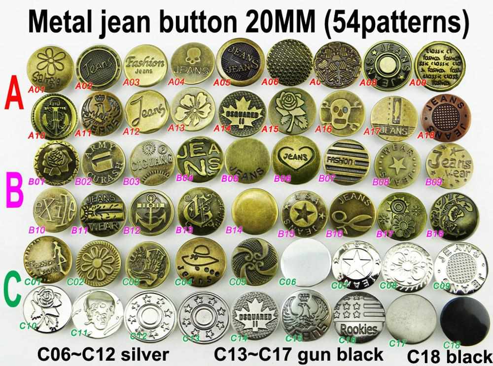 30PCS 20MM 54pattern Design Metal Jeans Button BRAND Round Buttons  Brand Clothes Accessory JMB-186