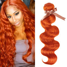 Sleek Brazilian Hair Weave Bundles 8 To 28 30 Inch Chic Orange Body Wave Bundles Remy Human Hair Extension Free Shipping(China)
