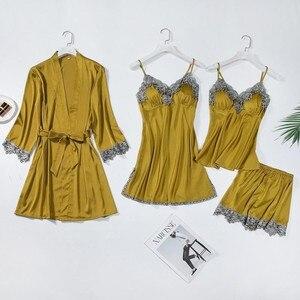 Image 4 - レーストリムブライダルウエディングローブ女性のセクシーなパジャマ緩い花嫁介添人着物バースドレスカジュアル浴衣 & 寝間着セット
