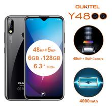 Oukitel y4800 6.3 Polegada 4g lte celular octa núcleo mtk p70 6gb 128gb rom android 9.0 smartphone 4000mah otg face id telefone móvel
