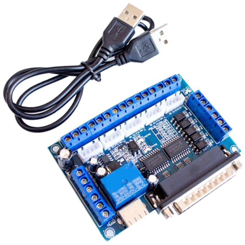 CNC 5-Axis Stepper Motor Driver Interface Board With USB Cable Optocoupler Isolation For MACH3 Engraving Machine