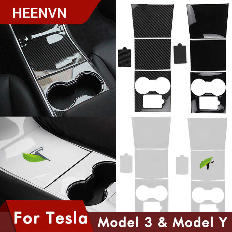 Heenvn Model3 Car Center Console Centrale Wrap Voor Tesla Model 3 Carbon Sticker Voor Tesla Model Y Drie Witte accessoires