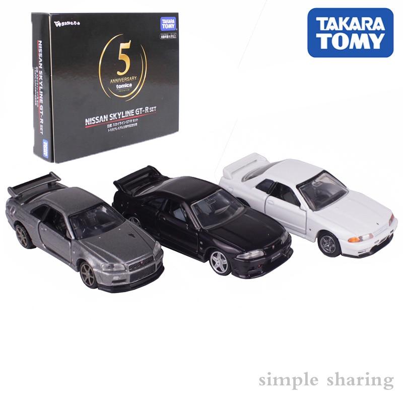 Takara Tomy TOMICA NISSAN SKYLINE GTR BNR32 34 BCNR33 5th Anniversary Model KIT 1/62 Hot Pop Funny Kids Car Toys Collectables