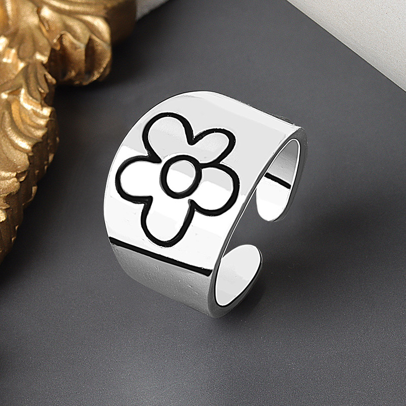Flower Ring for Women Glossy Little Red Flower Open Ring INS Minimalist Fashion Rings Wholesale Jewelry for Men