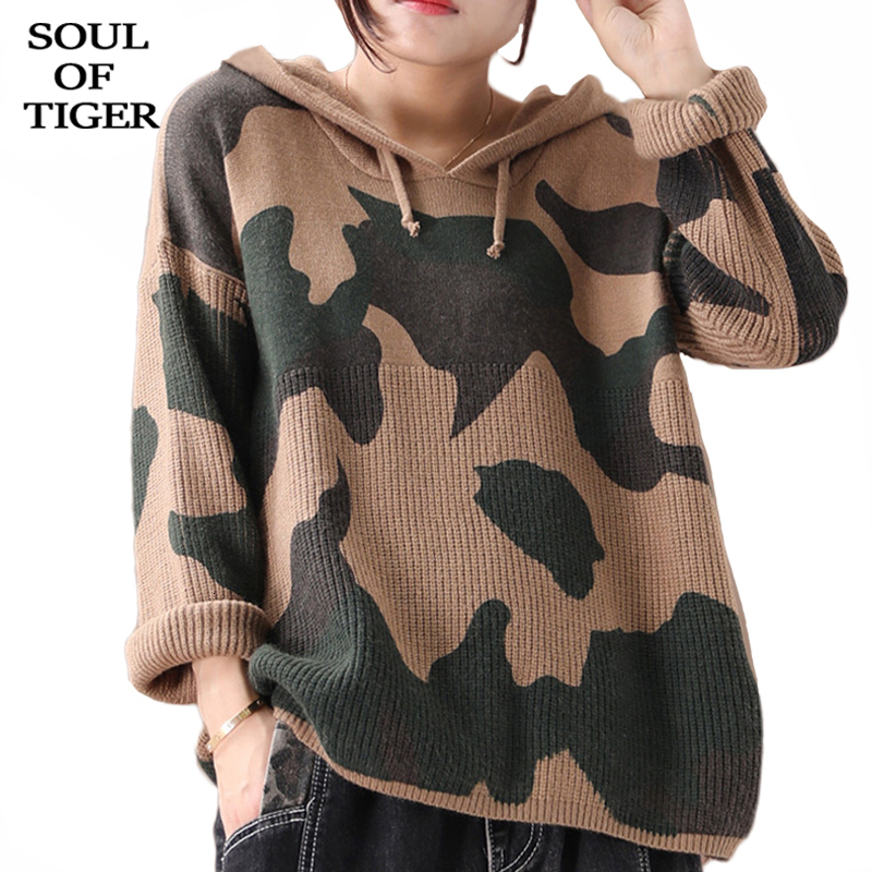 SOUL OF TIGER Fashion Korean Winter Ladies Punk Clothes Women Knitted Warm Camouflage Sweaters Casual Hooded Pullovers Plus Size