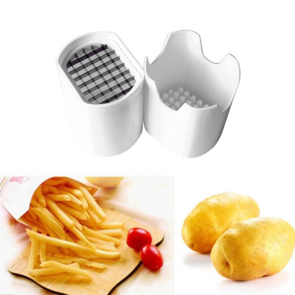 Potato Chips Cutting Box Press Cutter Cup Plastic Slicer Chopper Chips French Fries Making Tool Potato Cutting Kitchen Gadgets