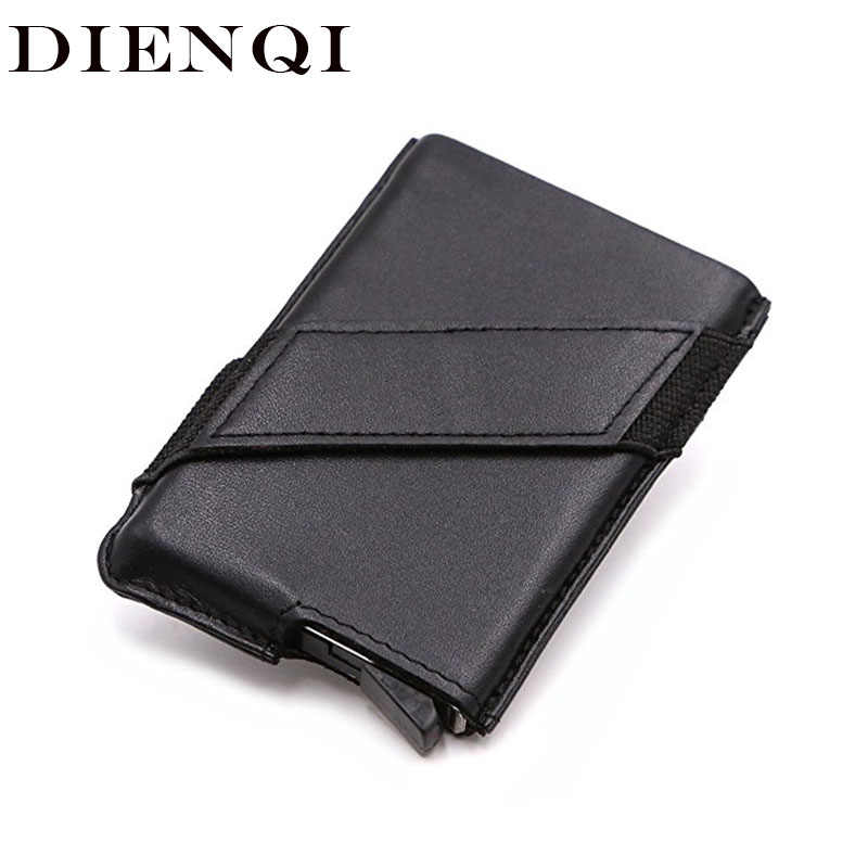 DIENQI Rfid Card Holder Men Wallets Money Bag Male Vintage Small PU Leather Thin Slim Wallet Mini Smart Magic Wallet Purse Walet