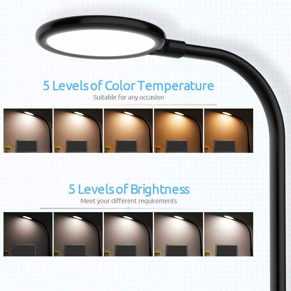 유연한 LED 데스크 램프 터치 컨트롤 디 밍이 가능한 금속 클램프 라이트 테이블 램프 사무실 거실 구즈넥 아이 케어 연구 램프