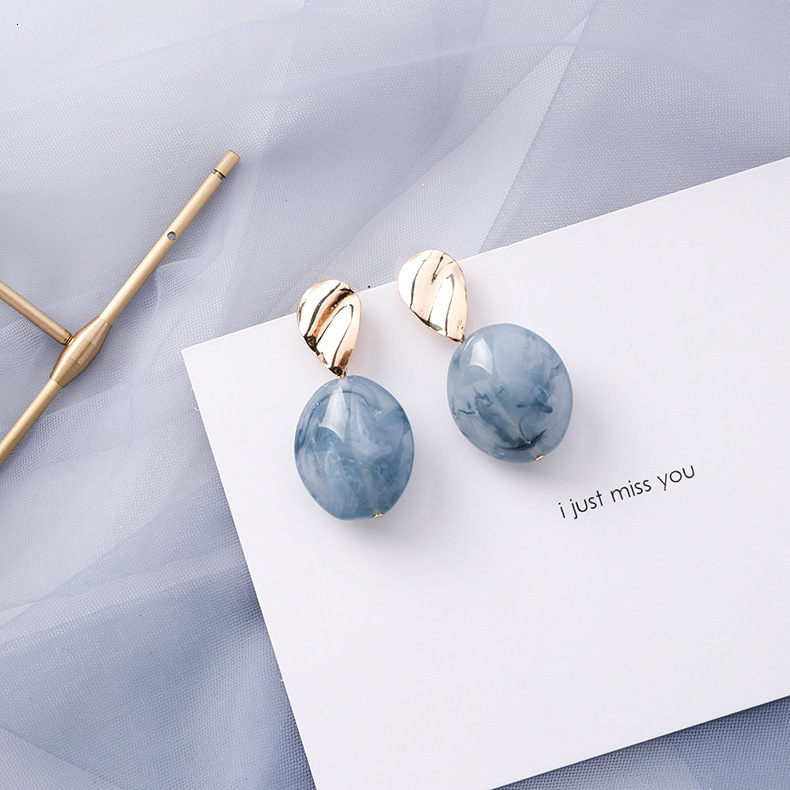 H124b11287d814f8691075dc5a78bac69R - Summer Blue Geometric Acrylic Irregular Hollow Circle Round Square Drop Earrings for Women Metal Bump Party Beach Jewelry