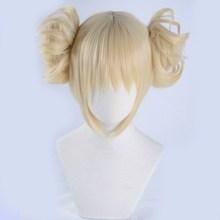 Peluca Boku no Hero Academia de My Hero Academia, Himiko Toga, Cosplay de estilo corto Rubio + gorro de peluca