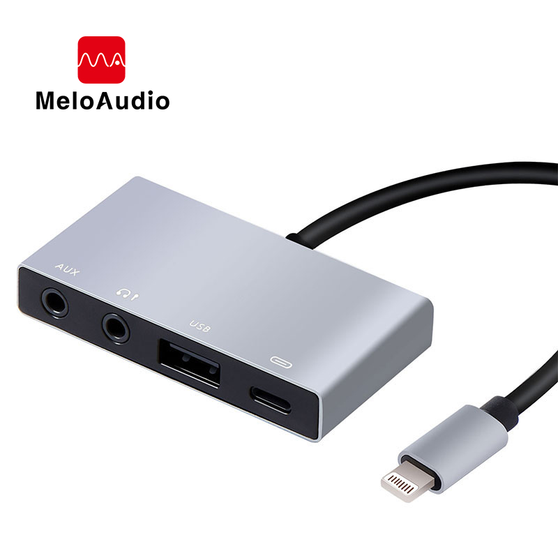 MeloAudio Lightning To USB OTG Audio Adapter, Male To Female, With Broadcast Charge Aux Jack-Sync Function, No APP Needed