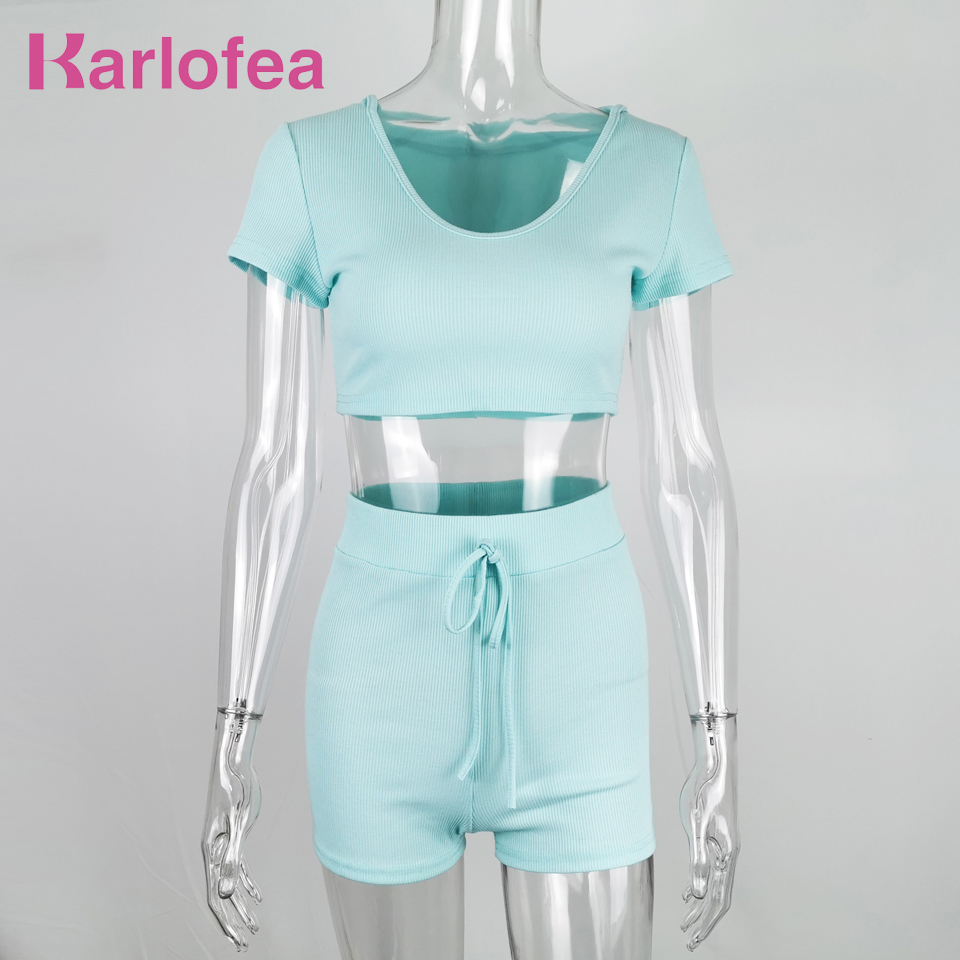 Karlofea Women Fashion Casual Ribbed Loungewear Set 2 Piece Shorts Matching Suit Sexy Shinny Hooded Crop Top Tracksuit Outfits