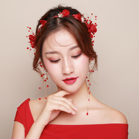 Red Fabric Flower Headband Hair Accessories Bridal Wedding Engagement Headpiece with Drop Earrings Party Prom Girls Headdress