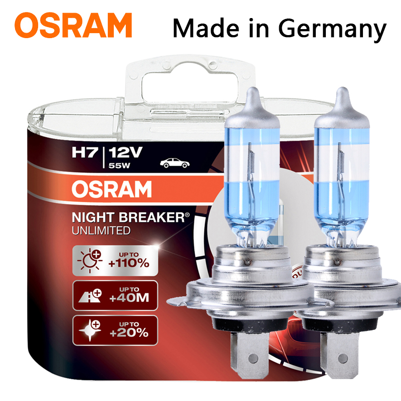 OSRAM Night Breaker H1 H3 H4 H7 H11 HB3 HB4 Car Headlight Bulb Low Beam High Beam Halogen Lamp 110% Brightness 3900K