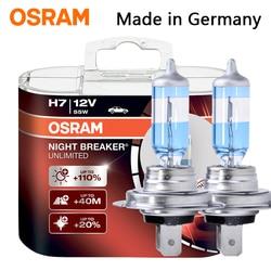 OSRAM Night Breaker H1 H3 H4 H7 H11 HB3 HB4 car headlight bulb Low beam High beam halogen lamp 110% Brightness 3900K