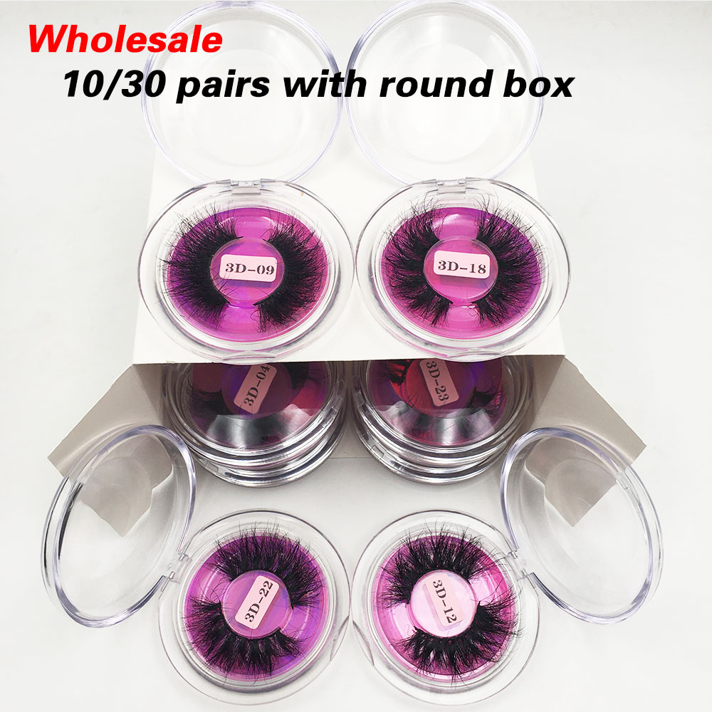 RED SIREN10/30/50 Pairs Messy 25mm Mink Lashes Wholesale Fluffy Eyelashes Soft Long 3D Mink Eyelashes Bulk Makeup Lashes Vendor