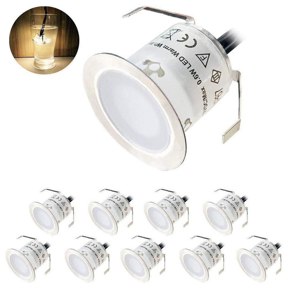10PCS 22mm LED Deck Lights 6W 500LM SMD2835 EU/US/UK Plug For Outdoor Garden Pathway Decor Underground Waterproof Spotlight