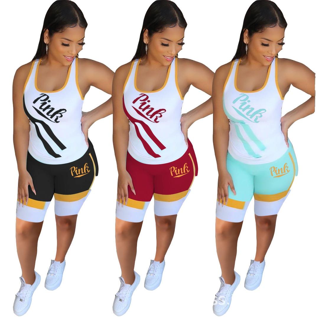 Plus Size Summer Two 2 Piece Set Pink Letter Print Sleeveless Vest Tops Woman Pants TrackSuits Womens  Pant Set