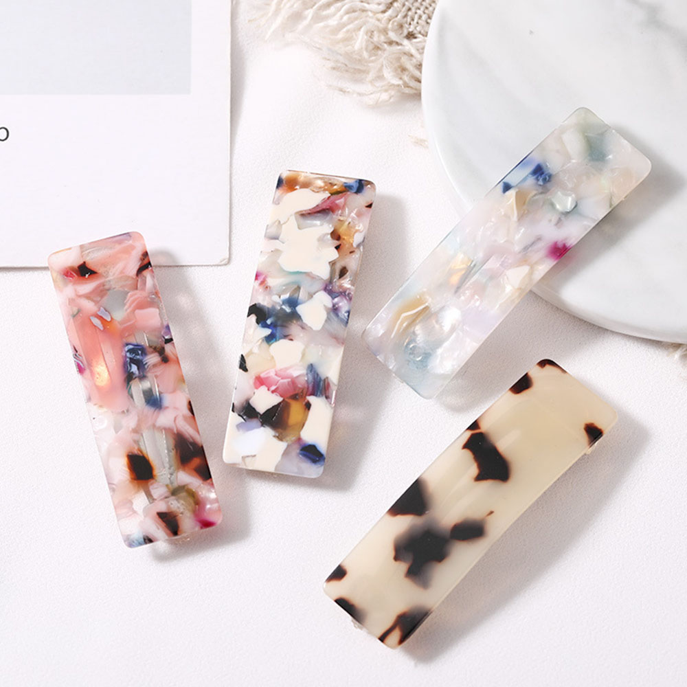 2019 Women Vintage Resin Acetate Rectangle Hair Pins Clip Leopard Hair Clip Geometric Hairpins Clips Hair Styling Accessories