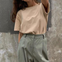 European and American women's jacket khaki blank combed cotton round neck solid color large size T-shirt