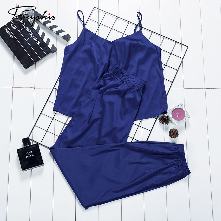 Suphis Silk Blue Crop Top Summer Sleeveless Cami Pyjama Satin Femme Sleepwear Casual Solid Women'S Home Pants Pajamas Set 2020