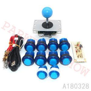 KIT de Arcade DIY para 1 reproductor de PC de cero retardo Mame codificador USB + copia Sanwa, Joystick de 5 pines + botones de empuje con LED + arnés de cable para MAME