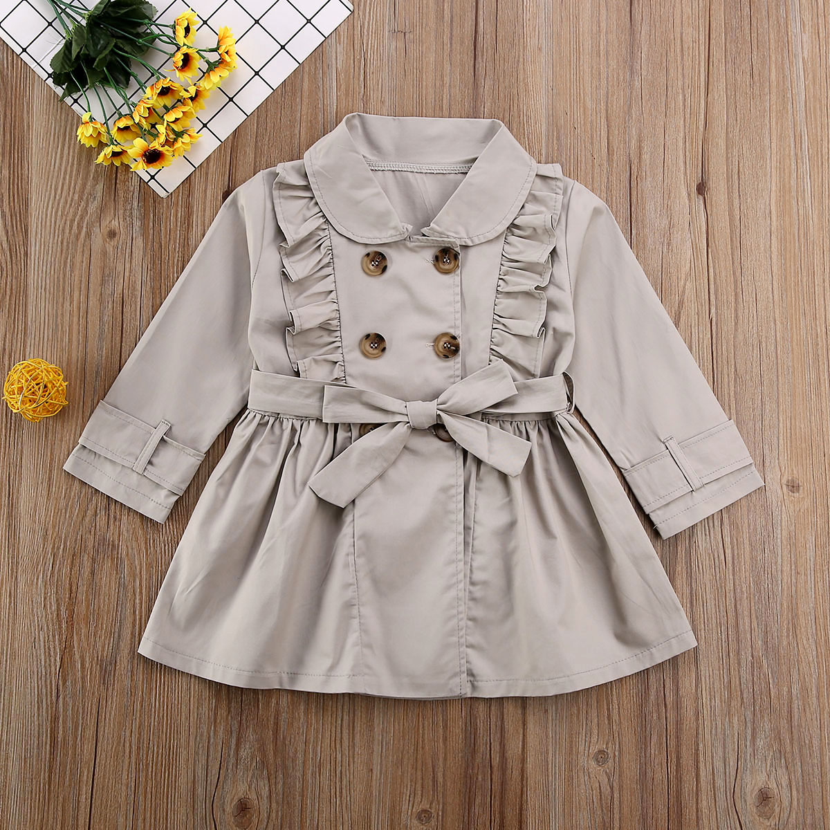 Pudcoco Toddler Baby Girl Clothes Solid Color Long Sleeve Ruffle Bandage Ruffle Casual Jacket  Windbreaker Coat Outwear Clothes