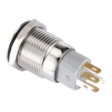 12V 3A Push Button Switch Menempel 16 Mm Kekuatan Cincin Logam Aluminium Biru(China)