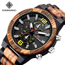 NEW Wooden Men Watches Big Dial Sport Male Watch 3 Small Dia