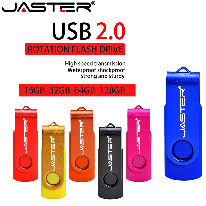 JASTER USB 2.0 Business Plastic USB Flash Drive Delicacy Portable Pendrive 4GB 8GB 16GB 32GB 64GB Rotatable Memory Stick U Disk