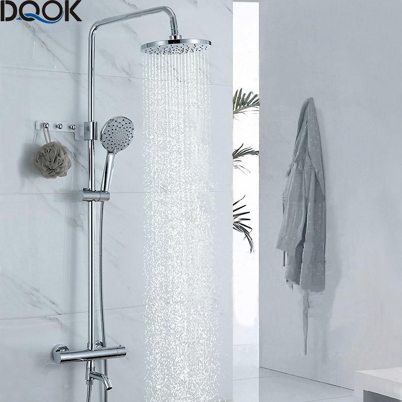 Dqok termostática torneira do chuveiro chrome cor banheiro banho chuveiro mixer conjunto cachoeira chuva chuveiro torneira da banheira torneiras