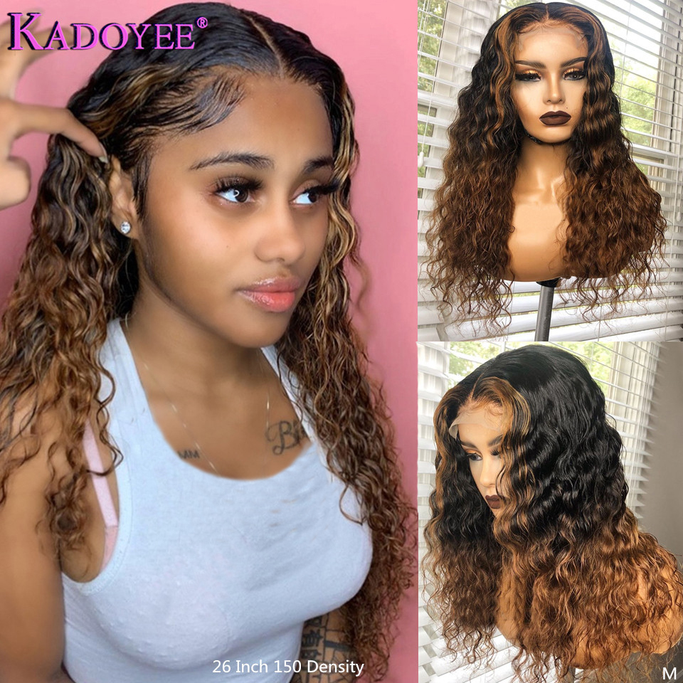Ombre Human Hair Wigs With Brown Highlight Deep Wave Lace Front Human Hair Wig Brazilian Remy 13x6 Lace Front Wig 150% For Women
