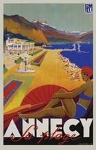 Annecy sa plage-robert fallucci arte poster vintage travl quadros a óleo lona arte da parede para sala de estar quarto decoração