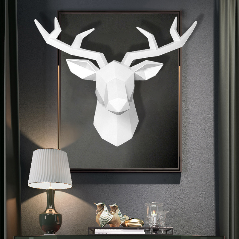 [MGT] American Deer Head Wall Hanging Rack Sucker Living Room Bedroom Coat Rack Key Hook Antelope Head Elephant Sculpture Statue