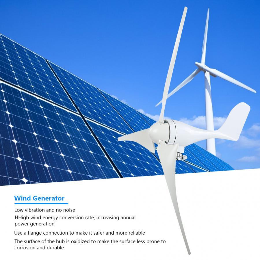 Generador de viento NE-300S generador de turbina de viento 300W 3 piezas 630mm de fibra de nailon