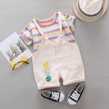 Комплект летней одежды для маленьких девочек Повседневная футболка