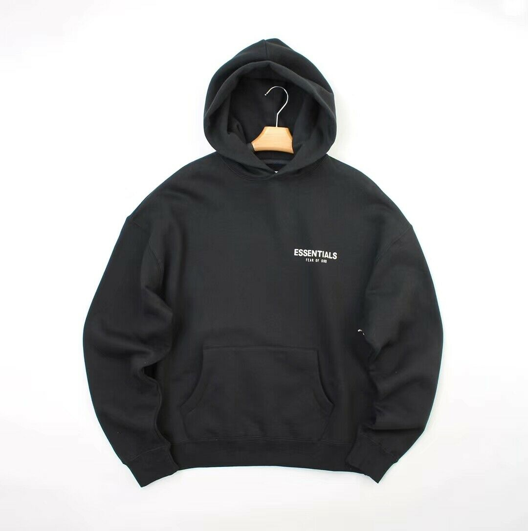 Fear God Fog X Pacsun Essentials Front Logo Pullover Hoodie Solid Black Unisex Size S-3Xl