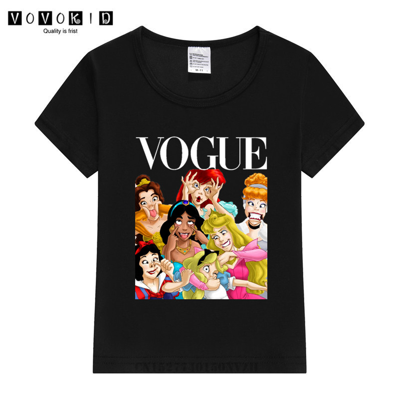 Kid Girl 2020 Princess Vogue Harajuku T Shirt Summer Graphic Tee Shirt Children Funny Korean Tops Kawaii Streetwear