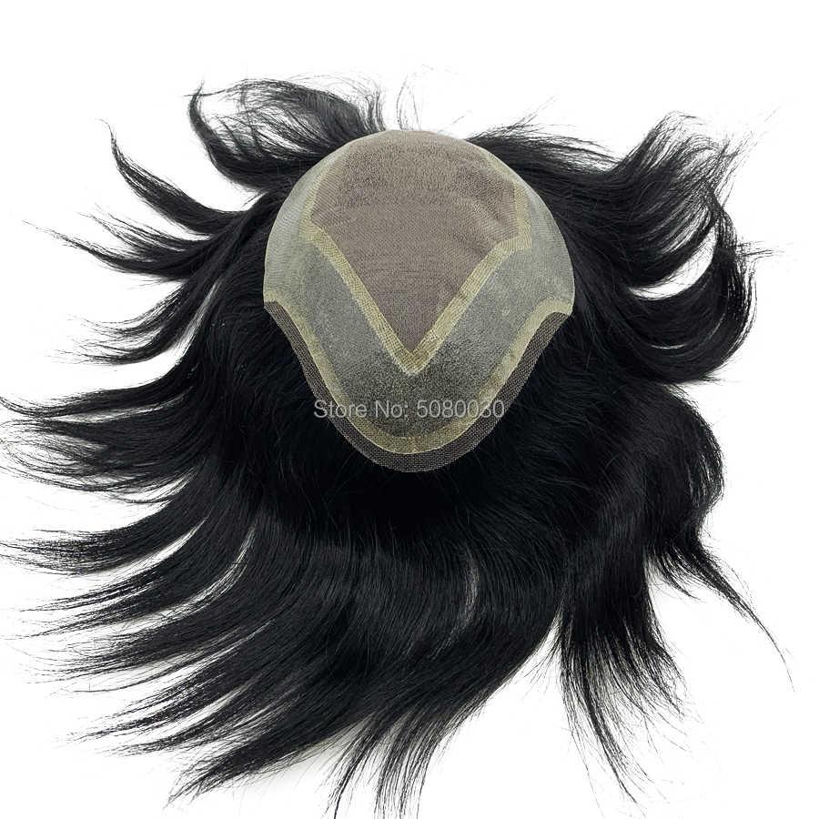Peluquín de pelo humano indio base de encaje mono hecho a medida