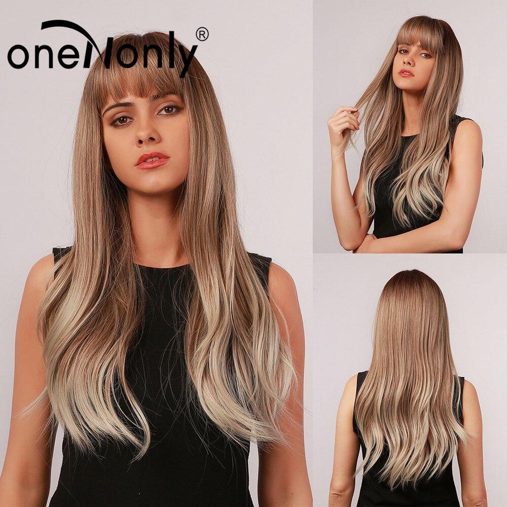 Ononly długi Ombre brązowy blond szary naturalne fale syntetyczne peruki z grzywką dla kobiet Cosplay codzienne włosy peruka żaroodporne
