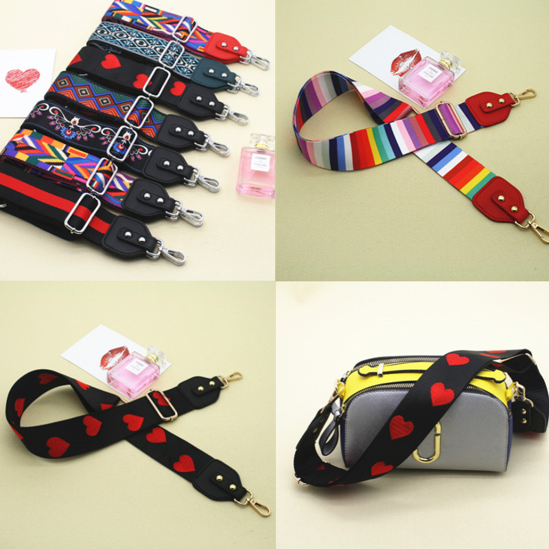 Nylon Rainbow Adjustable Shoulder Belt Bag Strap Accessories For Women Hanger Handbag Bag Straps Decorative Obag Handle Ornament